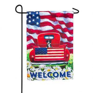 Patriotic Pup Truck Garden Flag