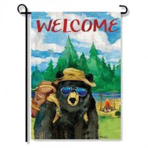 Bear Camper Garden Flag