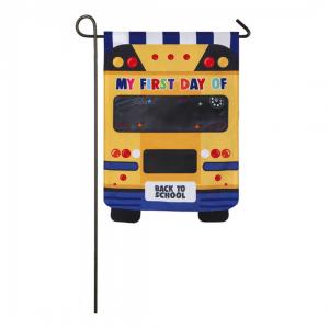 School Bus Linen Decorative Garden Flag