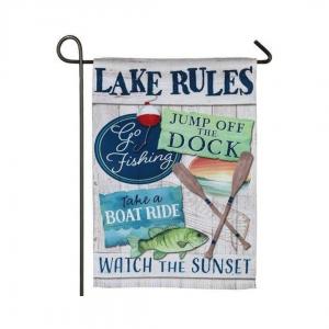 Lake Rules Garden Flag