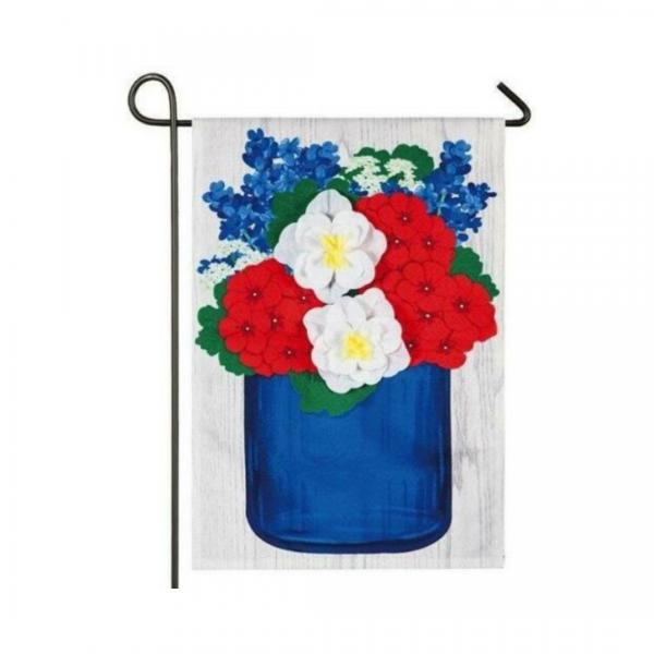 Red, White and Blue Flower Mason Jar Garden Flag