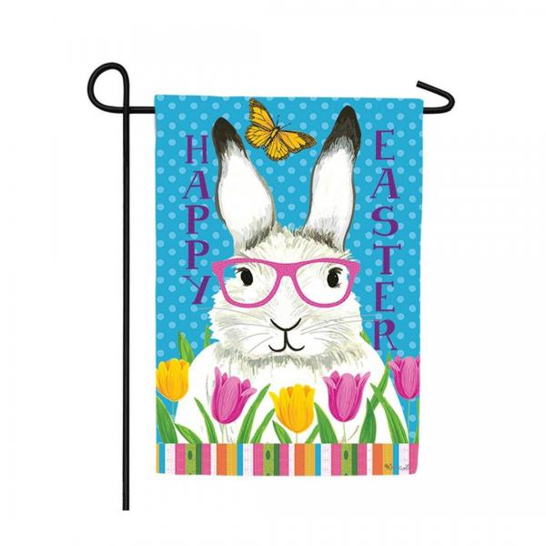 Bunny Glasses Garden Flag