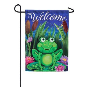 Hello Frog Friends Garden Flag