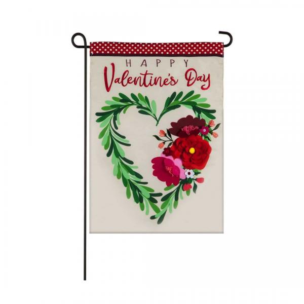 Valentine's Floral Heart Wreath Garden Flag