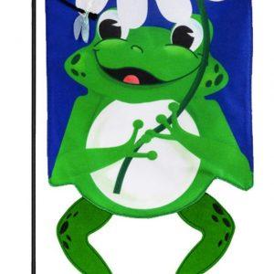 Shaped Frog Burlap Garden Flag