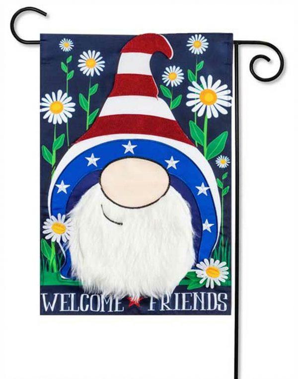 Patriotic Gnome Applique Garden Flag
