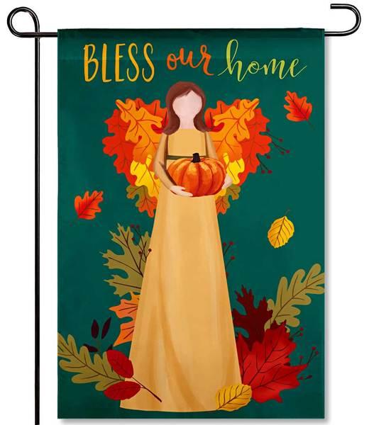 Autumn Angel Blessing Applique Garden Flag