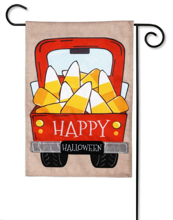 Candy Corn Truck Burlap Garden Flag