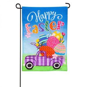 Easter Plaid Truck Garden Flag