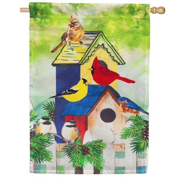 Fall Birds House Flag