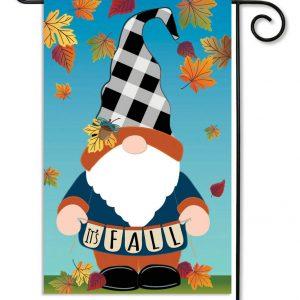 Fall Gnome Linen Garden Flag