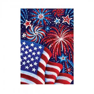 Fireworks & Flag Suede Garden & House Flag
