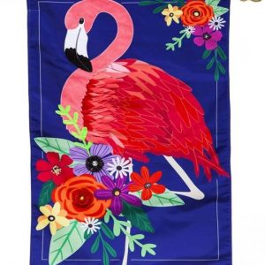 Floral Flamingo House Flag