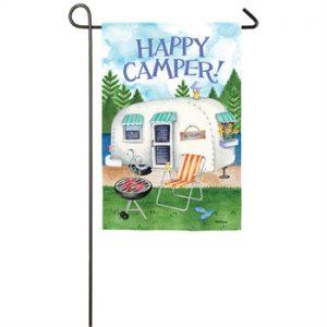 Happy Camper Suede Garden Flag