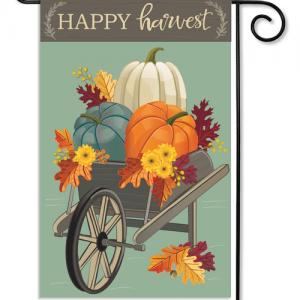 Harvest Wheelbarrow Burlap Garden Flag