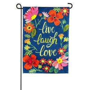 Live Laugh Love Floral Burlap Garden Flag
