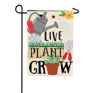 Live Plant Grow Applique Garden Flag