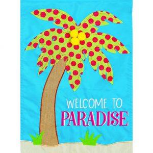 Paradise Palm Tree Applique House Flag