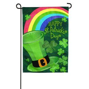 St. Patrick's Day Hat Burlap Garden Flag