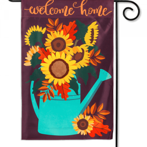 Sunflower Watering Can Applique Garden Flag