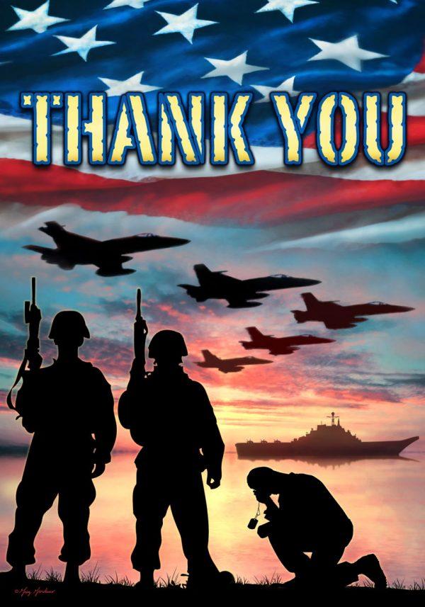 Thank You Troops Garden Flag