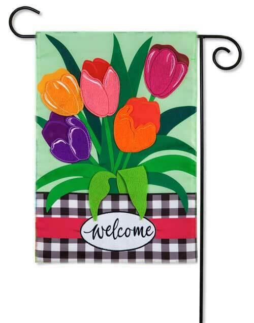 Welcome Spring Tulips Garden Flag