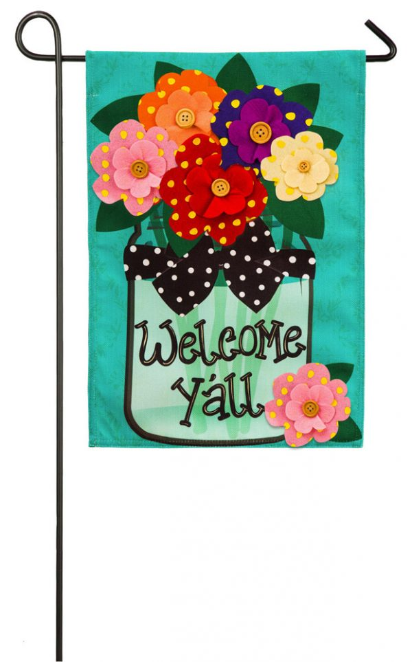 Welcome Y'all Polka Dot Flowers Burlap Garden Flag