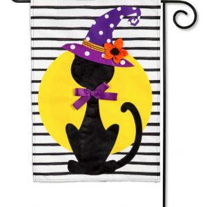 Witchy Black Cat Linen Garden Flag