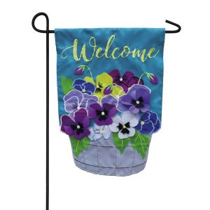 Basket of Pansies Garden Flag