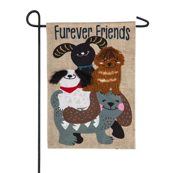 Furever Dog Friends Burlap Garden Flag