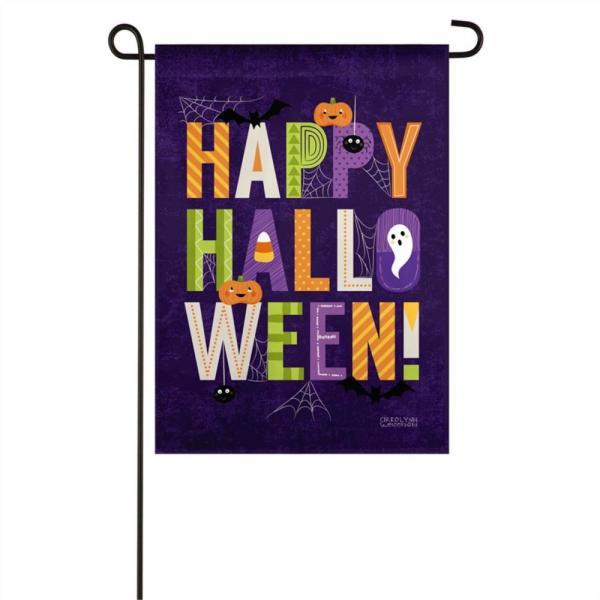 Happy Halloween Suede Garden Flag