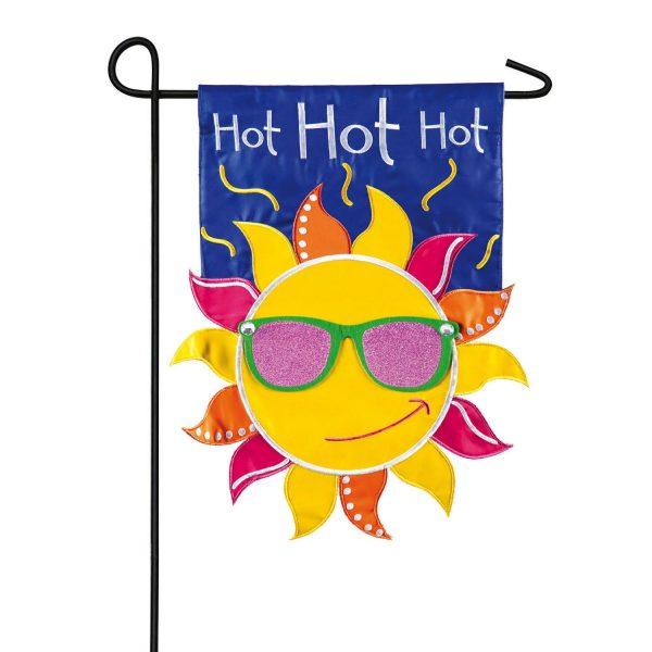 Hot Hot Hot Sun Applique Garden Flag