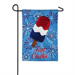 Just Chillin' Popsicle Linen Garden Flag