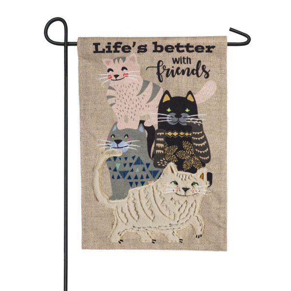 Life's Better with Cat Friends Burlap Garden Flag