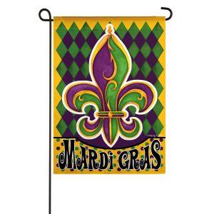 Mardi Gras Fleur De Lis Suede Garden Flag