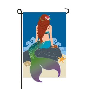 Mermaid on Rock Garden Flag