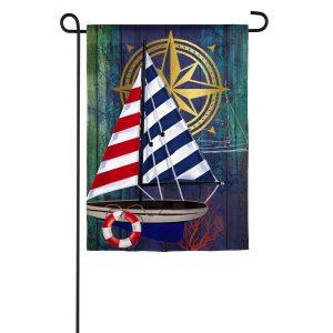Nautical Collage Linen Garden Flag