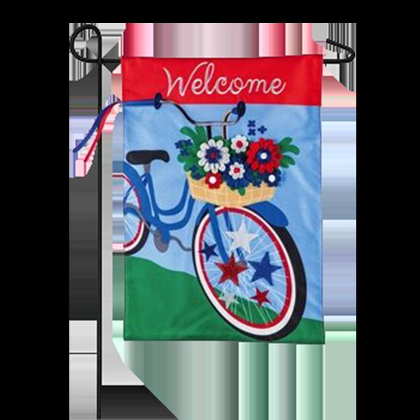 Patriotic Bicycle Garden Flag