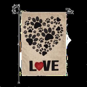 Paw Prints Heart Garden Flag