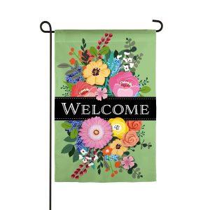 Spring Floral Swag Welcome Linen Garden Flag