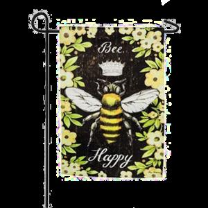 Bee Happy Yellow Floral Garden Flag