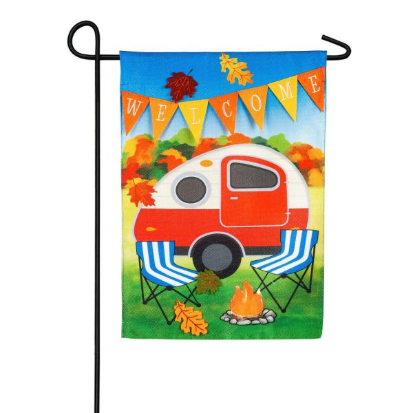 Fall Camper Burlap Garden Flag