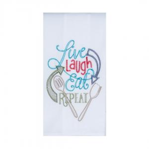 Live Laugh eat repeat dish towel
