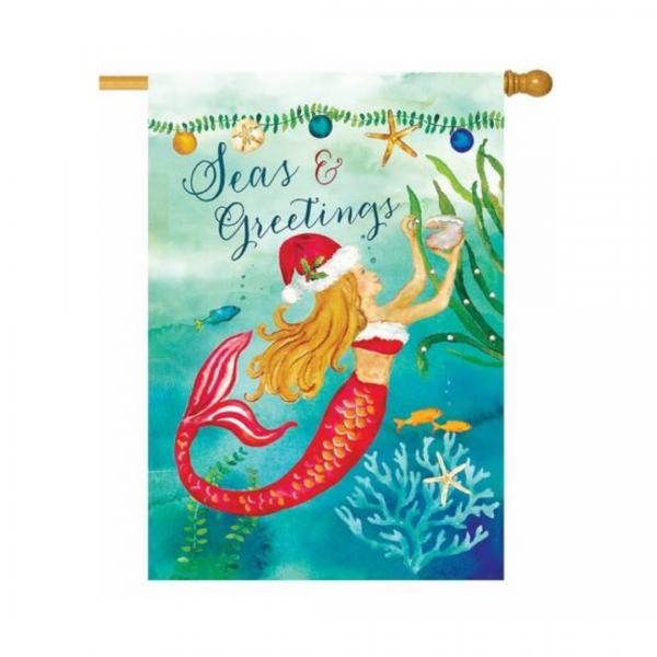 Christmas Mermaid House Flag