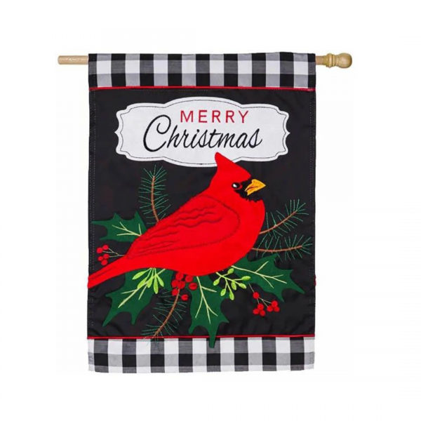 Merry Christmas Cardinal House Flag