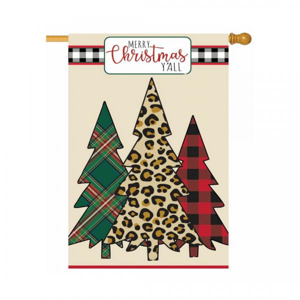 Mixed Print Christmas Trees House Flag