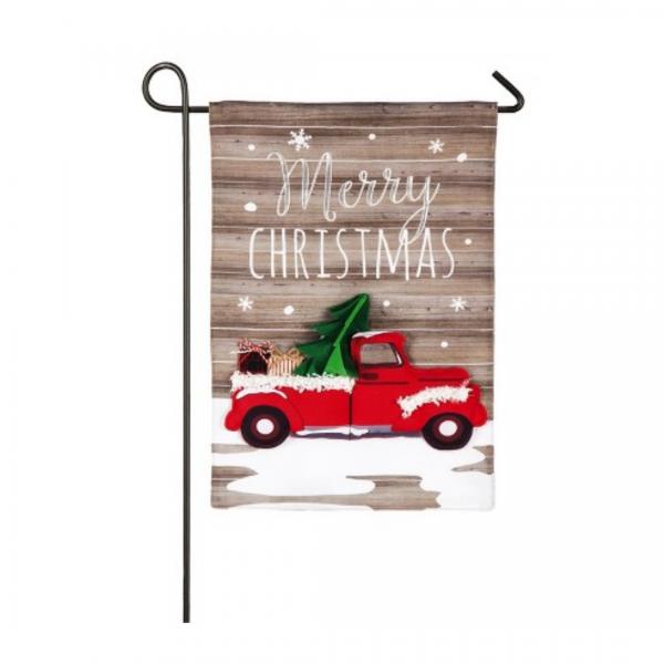 Vintage Christmas Truck Garden Flag